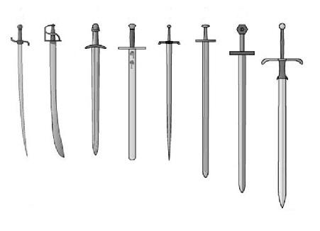 Differenti tipologie di spade